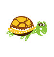 smiling green turtle character swimming vector image vector image