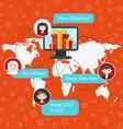 Social media and christmas congratulation concept vector image