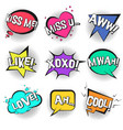 st valentines retro comic speech bubbles set vector image vector image