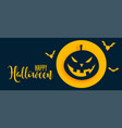 stylish happy halloween banner with pumpkin and vector image