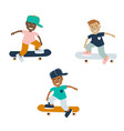 teenager boys on a skateboard cartoon on a vector image