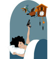 Tired woman and a cuckoo clock vector image vector image