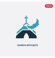 two color church with bats icon from other vector image vector image