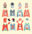 winter hats and cute ugly christmas sweaters icon vector image