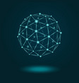 wireframe sphere glowing on dark blue background vector image