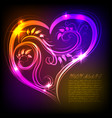 a beautiful multicolored heart with a bright neon vector image