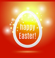 beautiful easter egg on red background vector image vector image