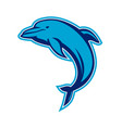 blue dolphin jumping retro vector image vector image