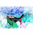 boat rafting in dam with watercolor art vector image