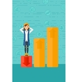 Business woman standing on low graph vector image vector image