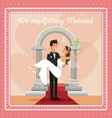 colorful gretting card with couple groom carrying vector image vector image