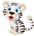 cute baby white tiger sitting vector image vector image