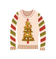cute sweater with christmas tree and fringe vector image vector image
