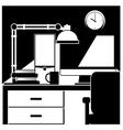 desktop workstation black and white vector image