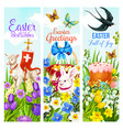 easter holiday greeting banner with egg and rabbit vector image