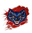 face an evil wolf vector image vector image