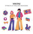 fashion history 1970 style vector image