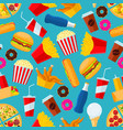 fast food snacks and drinks seamless background vector image