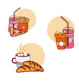 fast food with combos vector image vector image