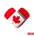 Flag icon in the form of heart I love Canada vector image