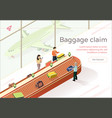 flat baggage claim collect luggage vector image vector image