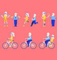 flat elderly man woman doing sport set vector image vector image