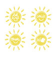 four logo in the shape of a sun with a handwritten vector image vector image