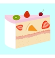 fruit cake with cherry and strawberry vector image vector image