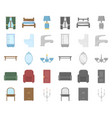 furniture and interior cartoonmono icons in set vector image vector image