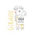 giraffe logo original design funny animal badge vector image vector image