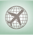 globe and plane travel sign brown flax vector image vector image