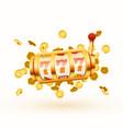 golden slot machine with flying golden coins wins vector image vector image