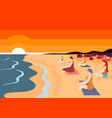group women practising yoga on beach at sunset vector image vector image