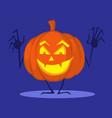 halloween pumpkin cartoon funny shining on dark vector image