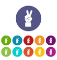 Hand with victory sign set icons vector image vector image