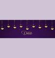 happy diwali golden diya and purple background vector image vector image