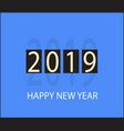 happy new year 2019 icon on orange background vector image