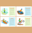 highlining and quad biking hobposter with text vector image vector image