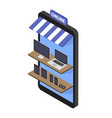 isometric concept store online shopping of vector image vector image