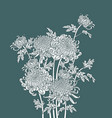 japanese flower chrysanthemum outline art vector image