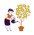 money tree watering can finance business concept vector image