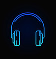 on-ear headphones blue minimal outline icon vector image vector image