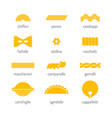 pasta set of colored flat icon of food objects vector image