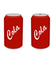 refreshing cold soda iced soft drinks can vector image vector image