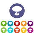 round table icons set color vector image vector image