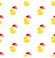 rubber ducky with umbrella seamless pattern vector image