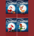 set happy christmas cards vector image