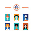 set of avatar flat design icons woman and girl vector image vector image