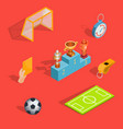 set of isometric soccer icons vector image vector image