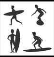 set of silhouettes of male surfers with vector image